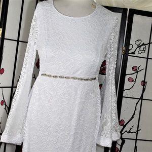 labels removed Dresses - WHITE RHINESTONE COCKTAIL/ WEDDING DRESS, 1- 2X